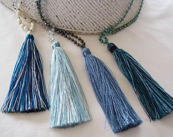 Teal turquoise tassel necklaces