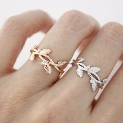 Leaf and branch Adjustable Ring