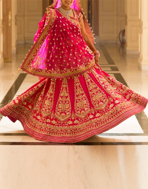 Anita Dongre Lehenga : Raw silk lehenga with gotta patte work, with embroidered choli and dupatta @1,85,000/-