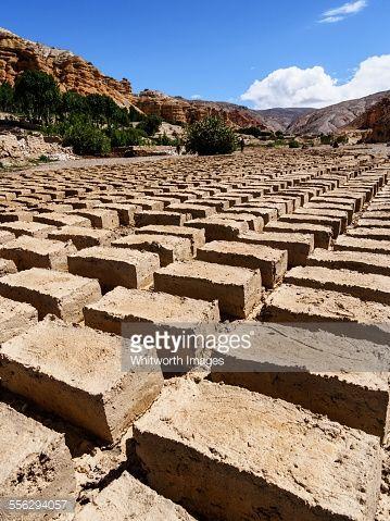 ストックフォト : Mud bricks drying in Upper Mustang, Nepal
