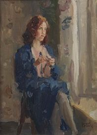 Artwork by Isaac Israëls, Dame in het blauw bij venster: daydreaming, Made of oil on canvas