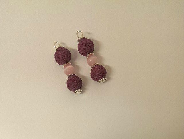 Pink LavaStone Earrings with added Rose Quartz by KinleysDesigns on Etsy