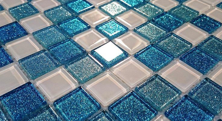 Mozaika szklana brokatowa - Primavera by Fabrizio Moretti - BM128 turkusowa biała