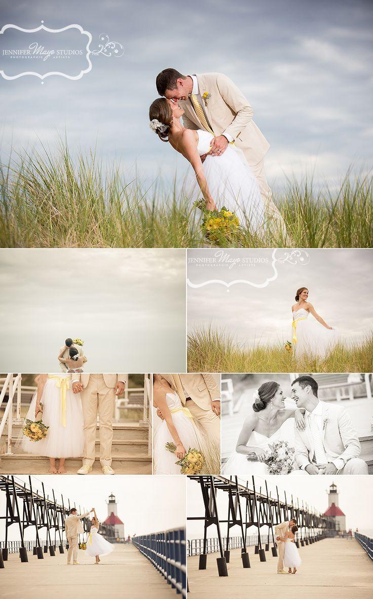 St. Joseph, Michigan beach wedding photos.  ©Jennifer Mayo Studios.  www.jmstudios.com