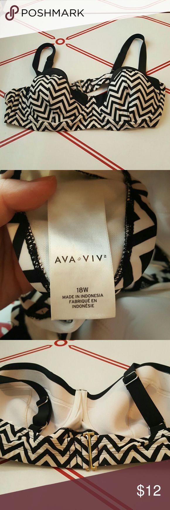 Ava & VIV chevron bikini top! Cute black and white chevron bikini top from Ava & Viv (Target plus) in size 18W Ava & Viv  Swim Bikinis
