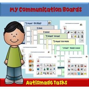 My Communication Boards for students with limited verbal skillsThe communication boards Included:-6 Communication Boards titledI want to playI feelI need in lessonsI want to eatWhat activity I want to doPersonal needsPlus:-120 Picture symbolsDynaVox Mayer-Johnson 2100 Wharton Street Suite 400 Pittsburgh, PA 15203 Phone: 1 (800) 588-4548 Fax: 1 (866) 585-6260 Email: mayer-johnson.usa@mayer-johnson.com Web site: www.mayer-johnson.com