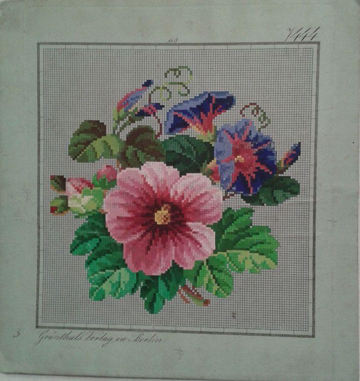 Victorian Flowers Design Z A Grünthal Verlag Berlin Woolwork Pattern | eBay