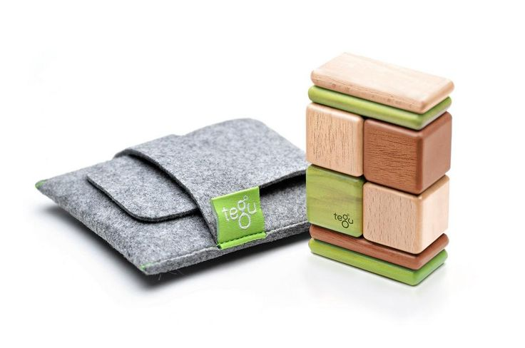 Tegu On the Go Original Pocket Pouch Set Jungle - The Pocket Pouch is the perfect introduction to the world of Tegu magnetic wooden blocks. It's the perfect toy for the purse, restaurant, airplane, or desk.