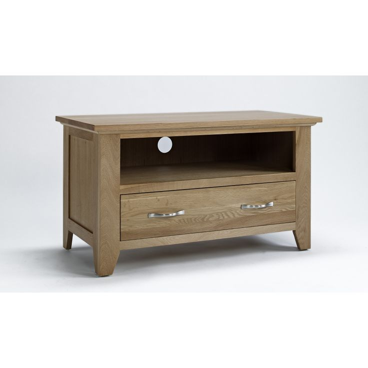 Sherwood solid oak furniture small TV cabinet stand unit with drawer
