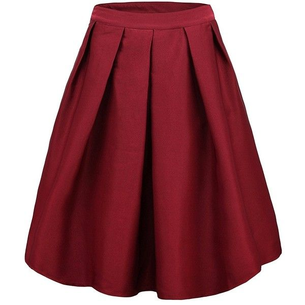 Face N Face Women's High Waisted A line Street Skirt Skater Pleated... (€17) ❤ liked on Polyvore featuring skirts, pleated midi skirt, red skater skirt, skater skirts, red midi skirt and pleated skirt