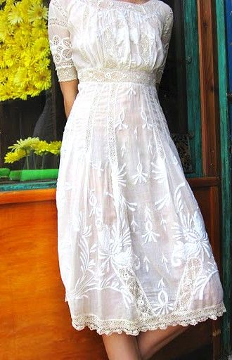 white empire waist embroidered dress