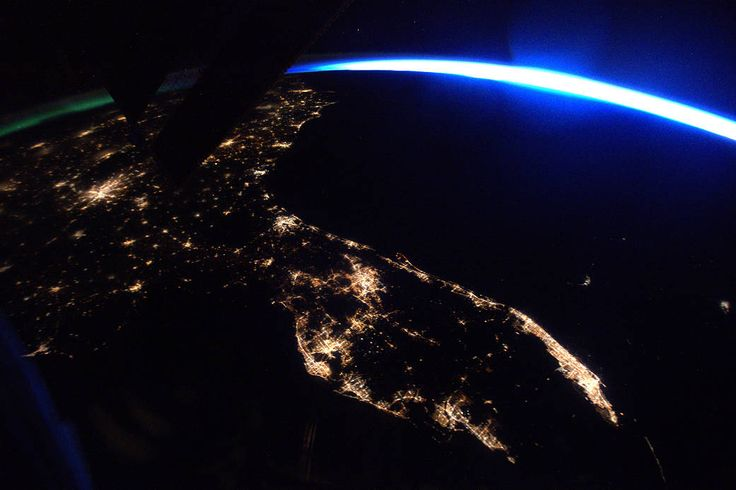 Florida at night photographed from low Earth orbit