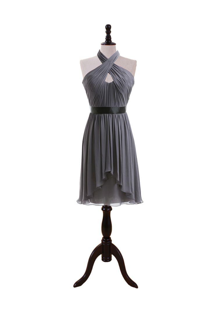 Knee Length Halter Chiffon Dress