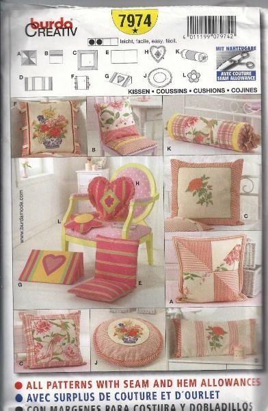 Burda Creative Cushions Sewing Pattern One Size 7974