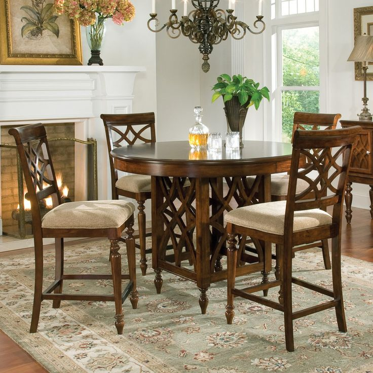 The Standard Woodmont Counter Height Dining Set Features Graceful And Soft  Shaping In A Clean Urban Style. Striking Lattice Accents On Chair Backs Are  ...