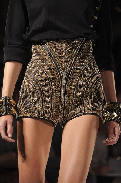 Balmain Spring 2012 - love the symmetrical shaping on these shorts