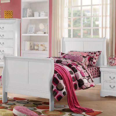 Alcott Hill Larsen Traditional Sleigh Bed Size: Eastern King, Color: White