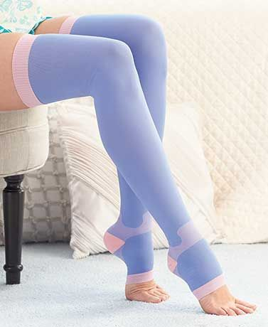 Compression Sleep Stockings may enhance circulation in your legs as you sleep, giving welcome relief to tired, aching legs. These therapeutic stockings may also