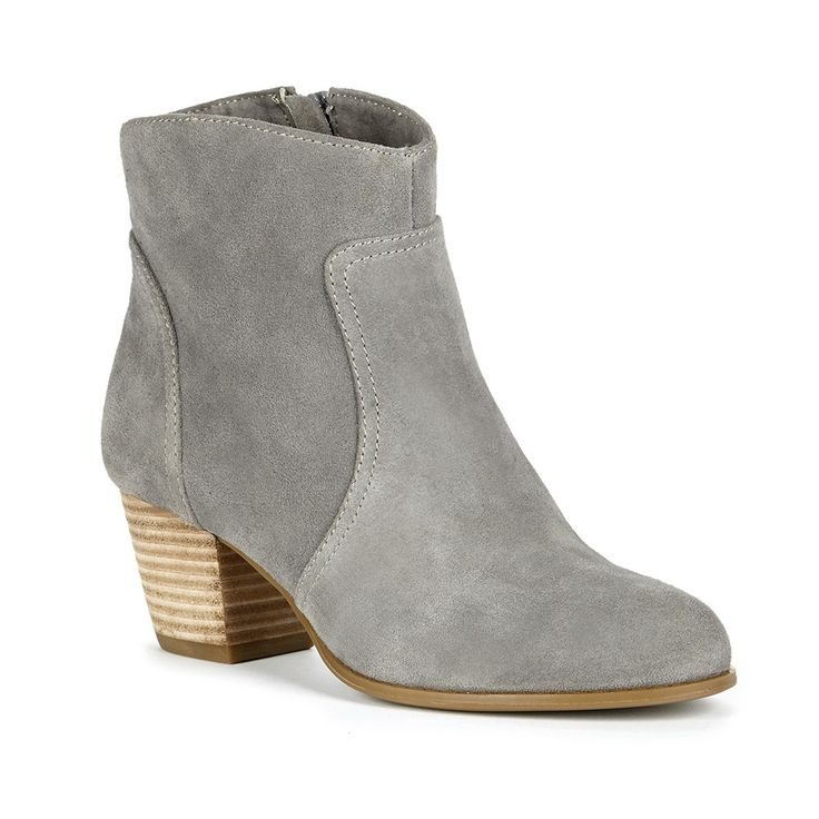 Grey suede ankle bootie with a Western-inspired design and comfortable stacked heel