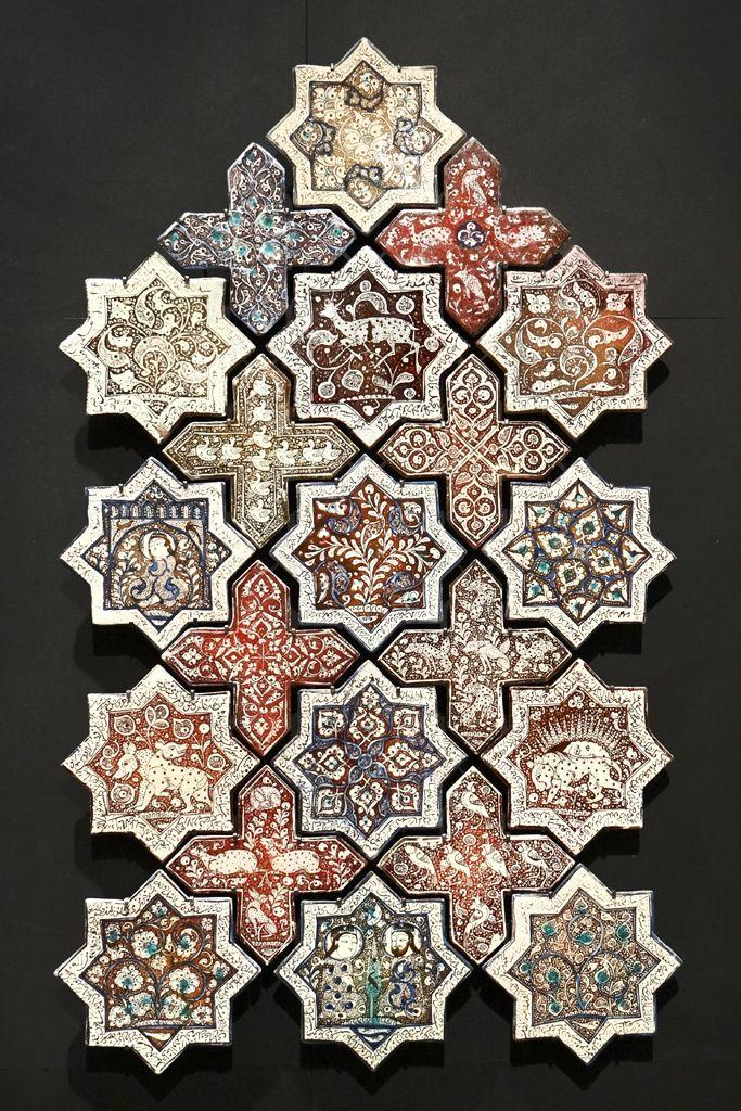 "Islamic Art at the Louvre Museum | ""Stars and crosses"" Ceramic with metallic lustre.  Iran 665 H / 1266 - 1267 | Photostream Jean-Pierre Dalbéra, via flickr"