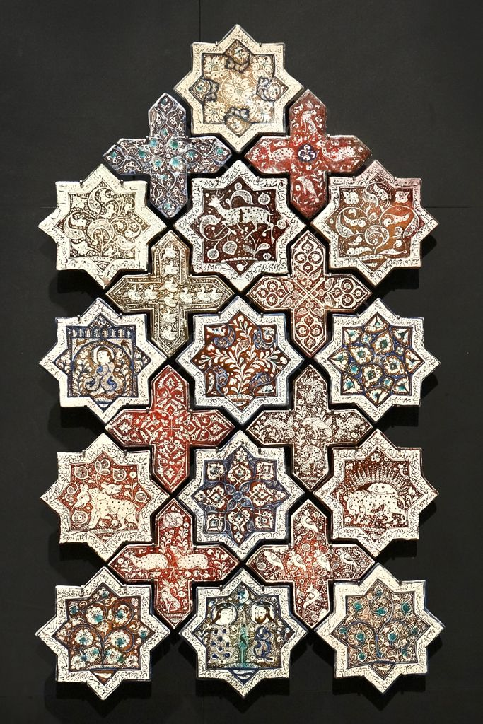 "Islamic Art at the Louvre Museum | ""Stars and crosses"" Ceramic with metallic lustre.  Iran 665 H / 1266 - 1267 