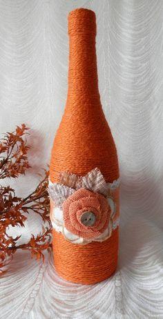 Yute rústico artesanal envuelto botella por CandleStreet en Etsy