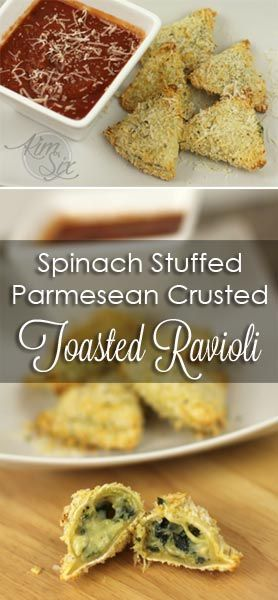 Ultimate Recipe Challenge: Oven Toasted Spinach and Parmesan Ravioli.  Make Toasted Ravioli without frying, but instead baked in the oven.  The store bought raviolis are filled with ricotta and spinach and then crusted with parmesan and baked. Easy and quick. Would make a fun party appetizer with marinara sauce!