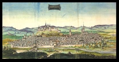 Krakau / Kraków 1536 with eastern wing  heavily destroyed by fire at Octobre 18th 1536 from Ottheinrich Travel book by unknown painter http://www.ottheinrich.info/routen/3/index.php