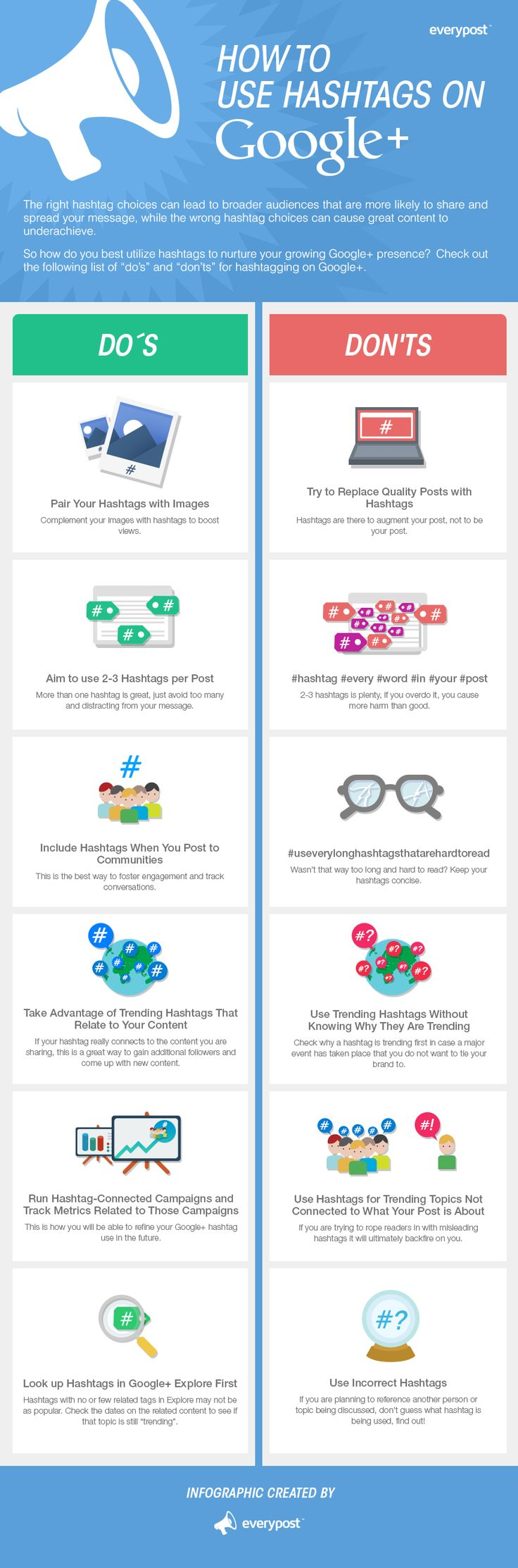 Google+ #Hashtags, Do's and Don'ts -  #infographic