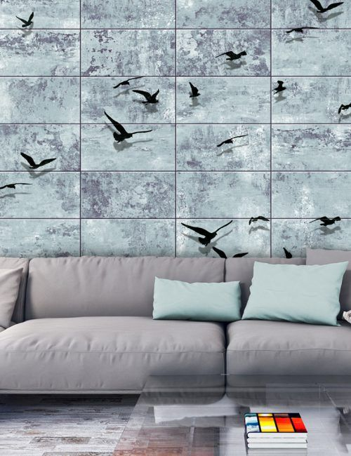 Carta da Parati Uccelli su Pietra Blu Carta da Parati Fotomurale con Sfondi e Disegni Effetto Pietra