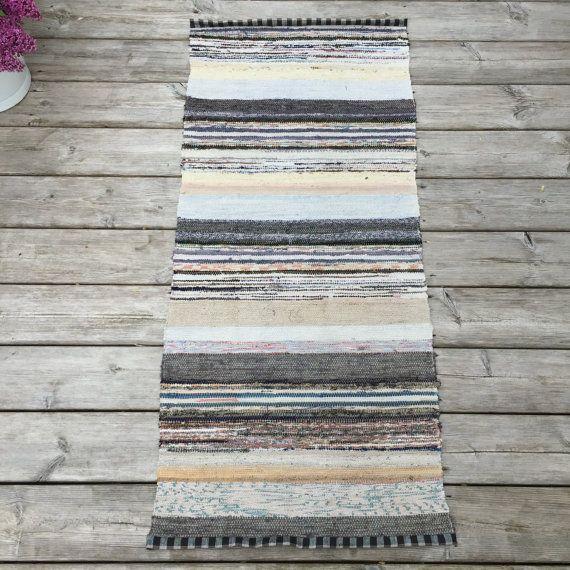 1.40m Vintage Swedish Rag Rug in Grey Blue by BeyondFranceLTD
