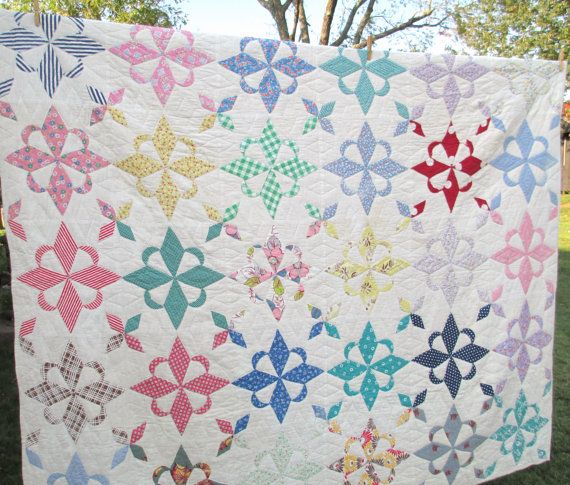 "Antique Quilt - Star of West or Four Winds Pattern Appliqued - Handstitched  74"" x 85"" vintage Kentucky handmade - Cotton Feedsack Print"