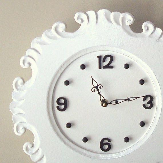 SILENT Cream Cottage Chic Distressed Wall Clock   Large Wall Clock   Unique  Wall Clock   Wall Decor   2331. Große WanduhrenWand ...