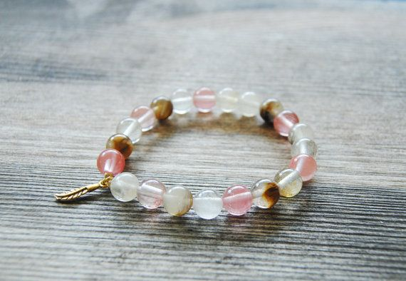 Cherry quartz mala bracelet buddhist mala by IskraCreations
