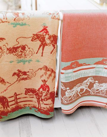 "Western blankets ""[I]n its prime as America's largest cotton-blanket maker, from 1920 through the '40s, Beacon [Manufacturing] pitched its product as a modern marvel: a fluffier, less expensive, moth-proof alternative to wool that was easier to clean and just as warm.' (western decor, wild wild west)"