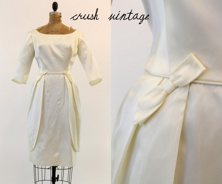 60s Satin Wedding Gown S / 1960s Emma Domb Dress / The Town Hall Wedding Dress. $154.00, via Etsy.