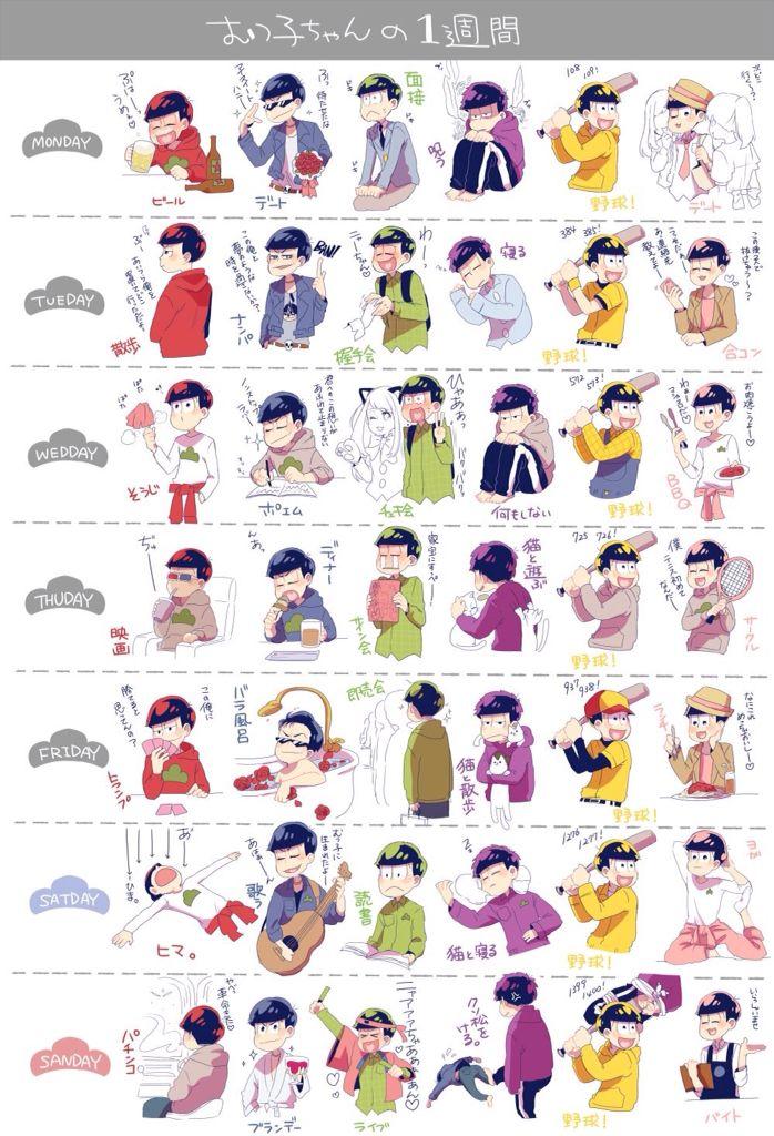Osomatsu-San weekly routine, Osomatsu, Karamatsu, Choromatsu, Ichimatsu, Jyushimatsu, and Todomatsu. Jyushimatsu's routine makes me laugh xD!