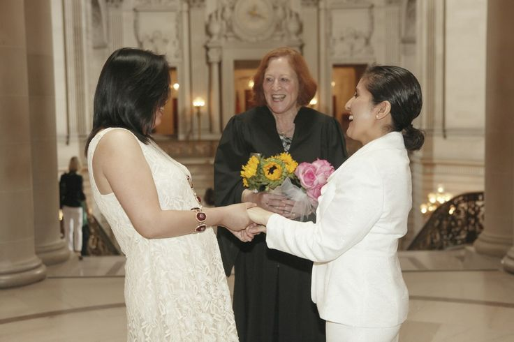 The unforgettable moment. Both are fully happy having each other.  #lesbianwedding #twobrides #sanFranciscowedding #sanFranciscocityhall #samesexphotographer www.rachellevinephoto.com