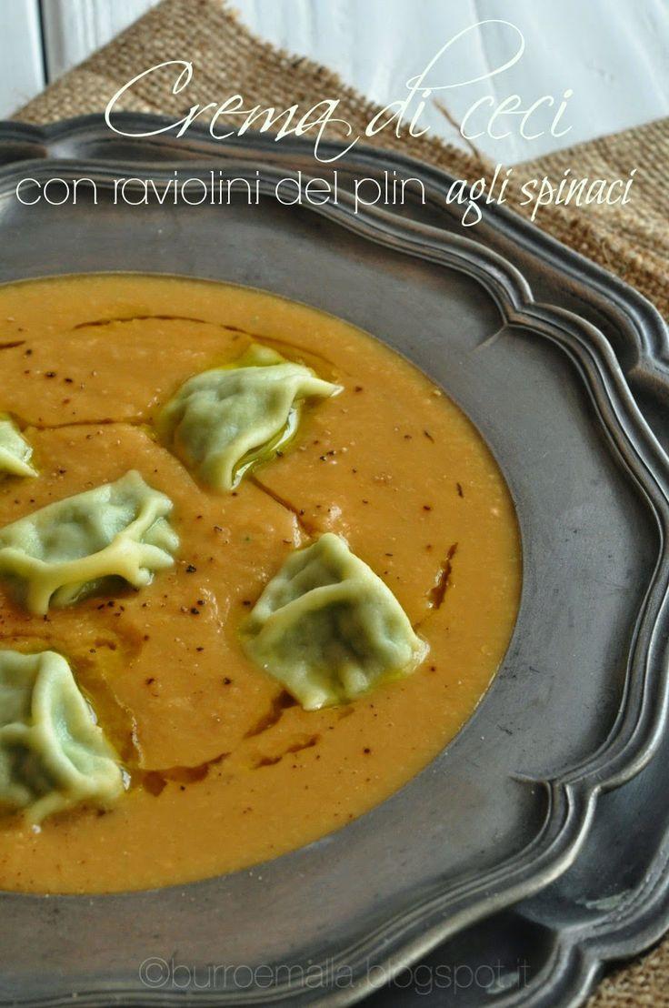 Burro e Malla: Crema di ceci con raviolini del pin agli spinaci