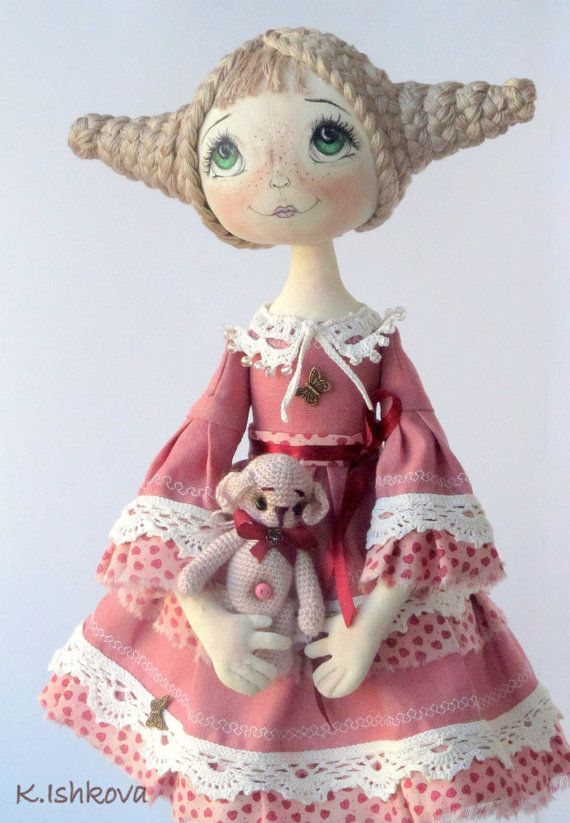 Textile Art Cloth doll Anabel Fantasy Bear by ArtDollsByKseniya, $127.00