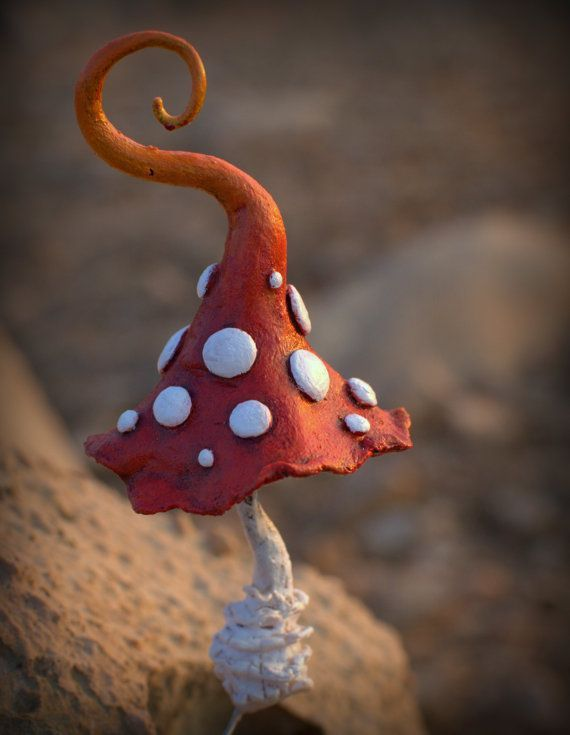 Rustic orange white fairy garden fantasy mushroom ,polymer clay ...