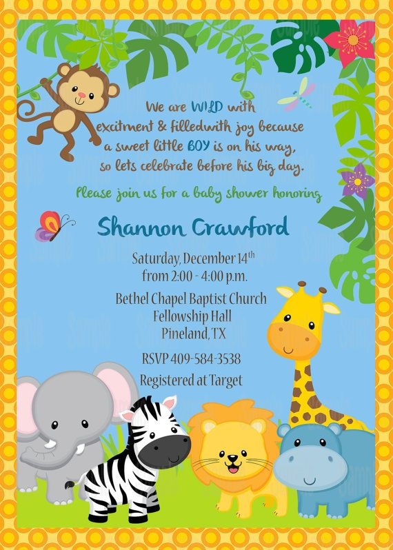 Printable Jungle Animals Invitation by PartyInnovations09 on Etsy