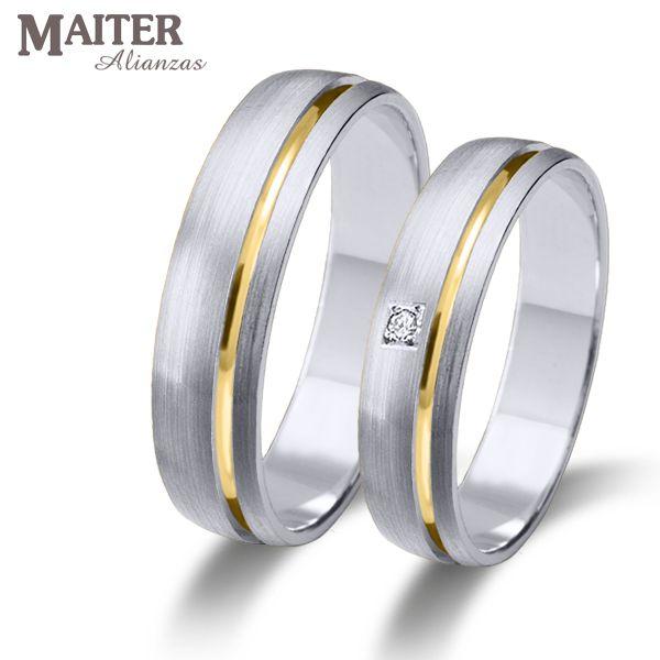 #Alianza #boda oro blanco linea oro amarillo #Maiter 45mm mate suave  brillante 0.015cts www.joyasmaiter.com