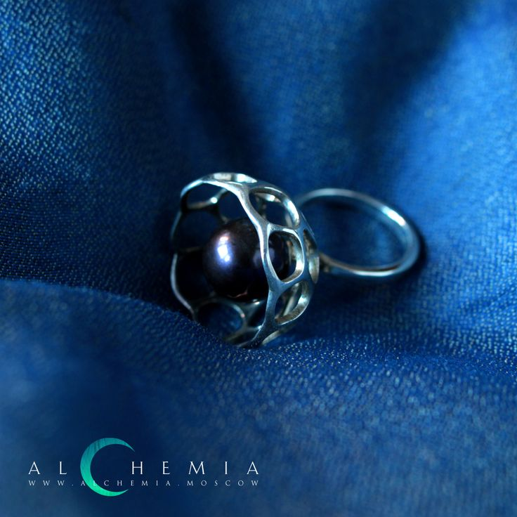 The Reticulum ring. Silver, pearl. Handmade by Alchemia Jewellery.