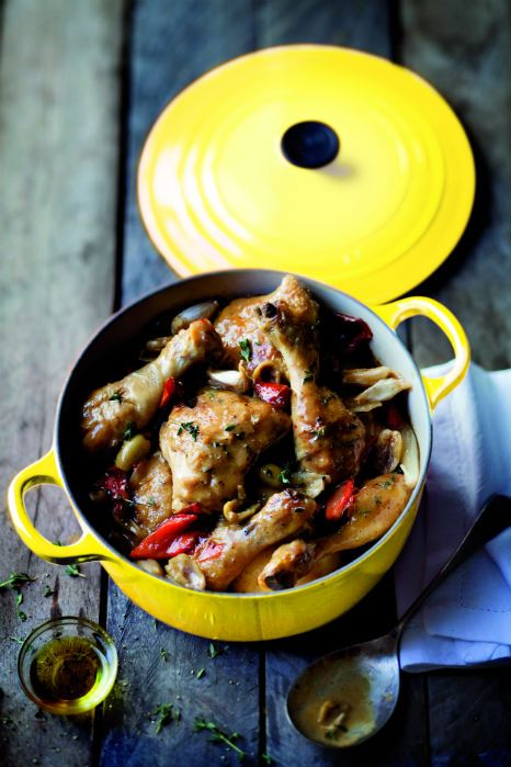 Chicken Casserole with Green Olives, Red Capsicums and Thyme