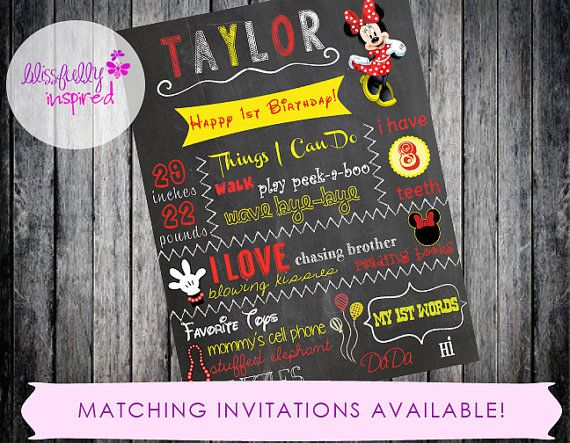 Minnie Mouse {inspired} Chalkboard Sign / 1st Bday Chalkboard / Printable  / Custom Milestone Sign / Photo Prop / Any Age / Girl Birthday