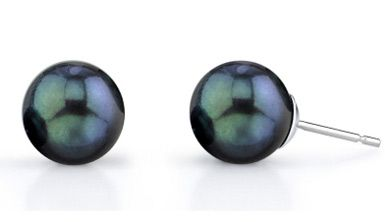 8.0-8.5mm Black Akoya Pearl Stud Earrings