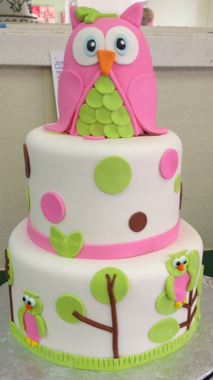 """Owl cake- since my princess has big """"owl eyes"""" i think an owl theme party would be perfect!"""