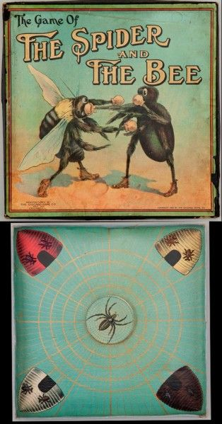 "Chicago Game Co., Chicago, Illinois/Collection of David Galt, NY. The Game of the Spider and the Bee (1912) ""Although the play has nothing to do w prizefighting, the game depicts a spider and bee boxing on the cover due to the popularity of the sport at the time of the game's manufacture. In this game, bees moving from the hives attempt to travel around the web without being caught by the spider. The player whose bee first travels completely around the web & arrives back in his hive…"