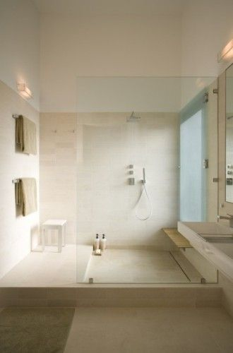 Beautiful bathroomBathroom Design, Open Shower, Ideas, Modernbathroom, Studios, Glasses Wall, White Bathroom, House, Modern Bathrooms